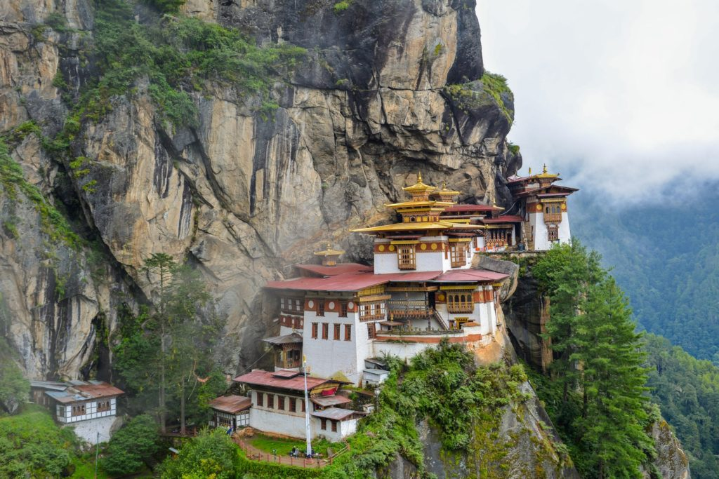 Isolated monastery in the mountains of Bhutan